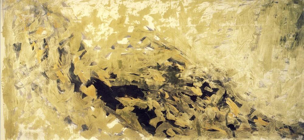 """senza titolo, dalla serie """"Il ciclo delle parvenze"""", 1987, olio e polveri d'oro su carta intelata, cm 150 x 324  untitled, from the series """"Il ciclo delle parvenze"""", 1987, oil and gold dust on canvassed paper, cm 150 x 324"""