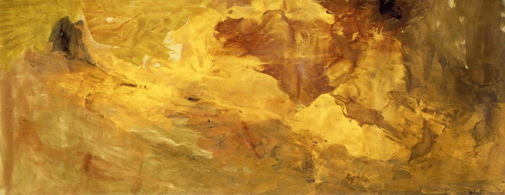 """senza titolo, dalla serie """"Segni come sogni"""", 1989,olio e polveri d'oro su carta intelata, cm 150 x 396  untitled, from the series """"Segni come sogni"""",1989,oil and gold dust on canvassed paper, cm 150 x 396"""