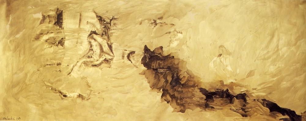 """senza titolo, dalla serie """"Segni come sogni"""",1989, olio su carta, cm 150 x 380   untitled, from the series """"Segni come sogni"""",1989, oil on paper, cm 150 x 380"""