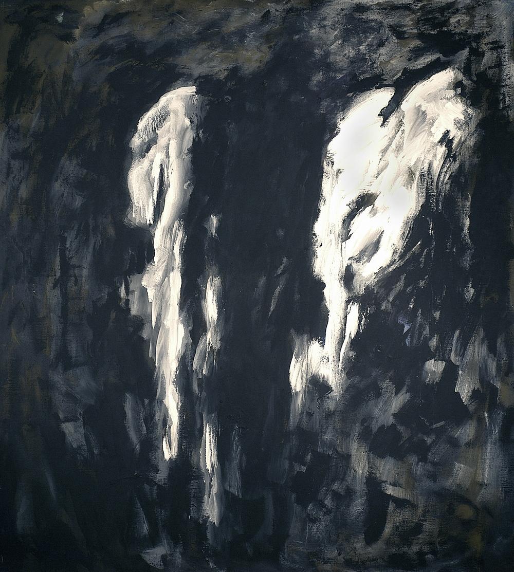 Ritorno nel grembo, 2004, tempera acrilica su tela, cm 200 x 180  Ritorno nel grembo, 2004, acrylic tempera on canvas, cm 200 x 180