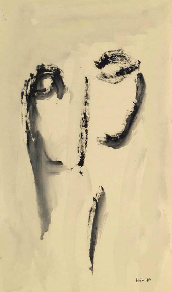Testa, 1950, tempera su carta intelata, cm 80.5 x 48,5  Testa, 1950, tempera on canvassed paper, cm 80.5 x 48,5