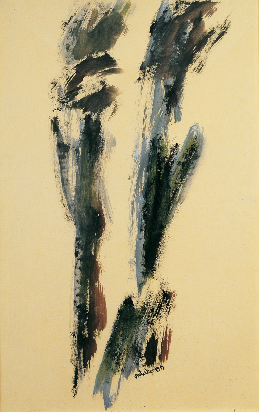"senza titolo, dalla serie ""I segni segreti"", 1953, tempera su carta intelata, cm 76 x 49,5   untitled, from the series ""I segni segreti"", 1953, tempera on canvassed paper, cm 76 x 49,5"