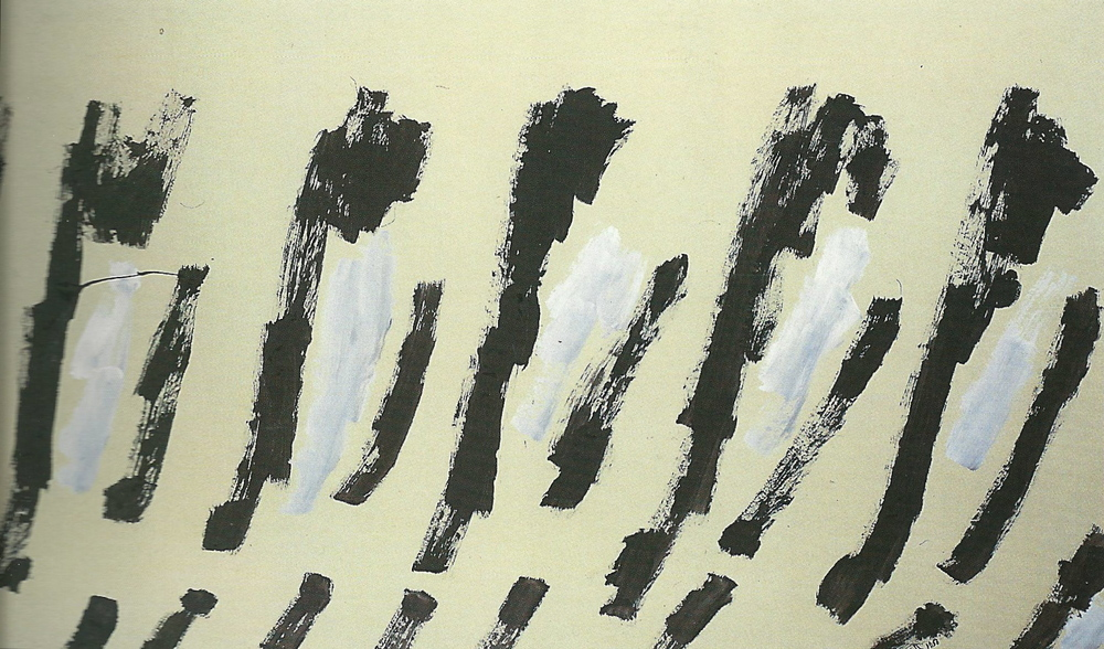 senza titolo, 1956, tempera acrilica su carta intelata, cm 152 x 187   untitled, 1956, acrylic tempera on canvassed paper, cm 152 x 187