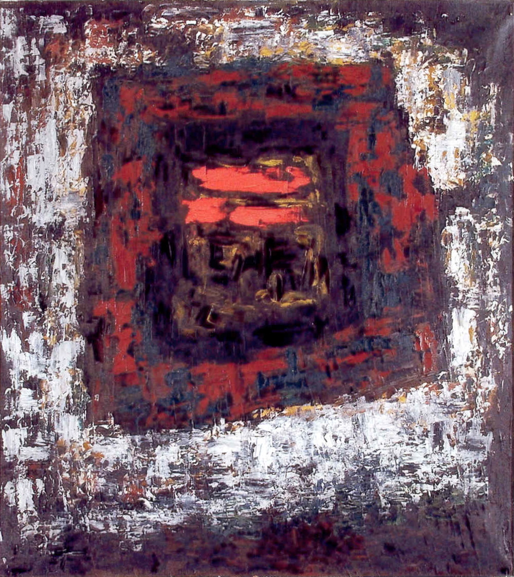 "senza titolo, dalla serie ""Gesto e materia"", 1956, olio su tela, cm 90 x 80   untitled, from the series ""Gesto e materia"", 1956, oil on canvas, cm 90 x 80"