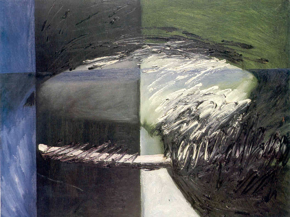 "senza titolo, dalla serie ""Ipotesi ultime"", 1962, olio su tela, cm 50 x 65    untitled, from the series ""Ipotesi ultime"", 1962, oil on canvas, cm 50 x 65"