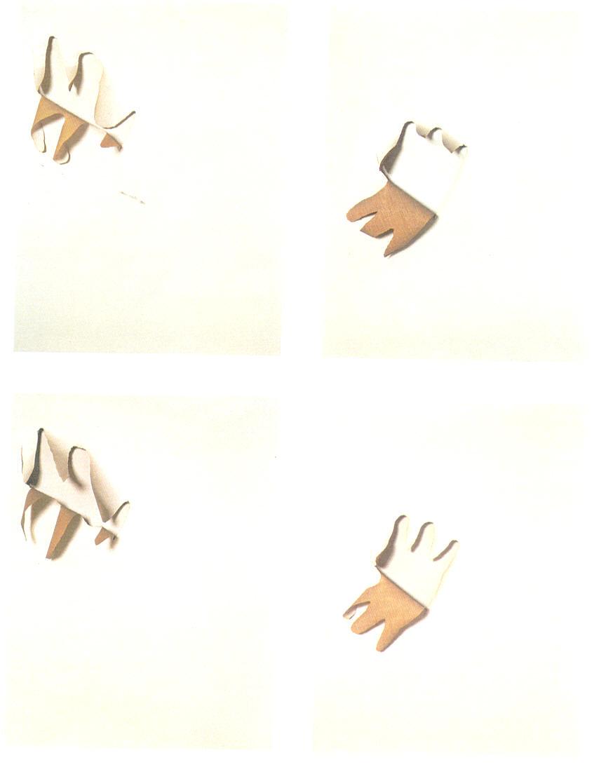 Tagli e ritagli - polittico di 4 elementi, 1966,tela ritagliata su tela,cm 90 x 70  Tagli e ritagli - polittico di 4 elementi, 1966, cut-out canvas on canvas, cm 90 x 70
