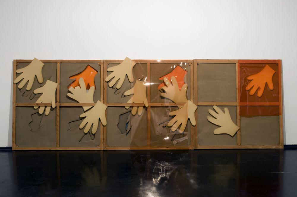 La mano di Vasco, 1967, trittico, telaio in legno, gomma piuma, tela, cellophane, cm 190 x 190  La mano di Vasco, 1967, triptych, wooden casement, foam rubber, cellophane, cm 190 x 190