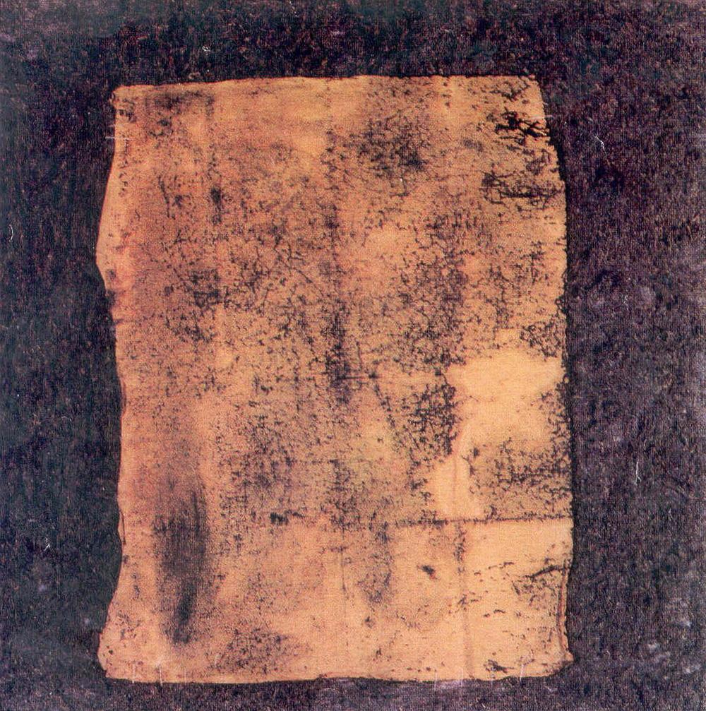 La mia pietra sepolcrale, 1969, polimaterico su tela, cm 150 x 150  La mia pietra sepolcrale, 1969, mixed media on canvas, cm 150 x 150