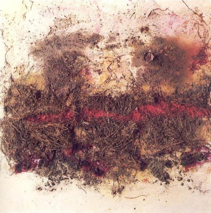 Il letto del fiume ricorda, 1969, polimaterico su tela, cm 110 x 110  Il letto del fiume ricorda, 1969, mixed media on canvas,cm 110 x 110