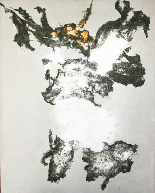 """senza titolo, dalla serie """"Gesto e materia"""", 1970, polimaterico su tela, cm 100 x 80  untitled, from the series """"Gesto e materia"""", 1970, mixed media on canvas, cm 100 x 80"""