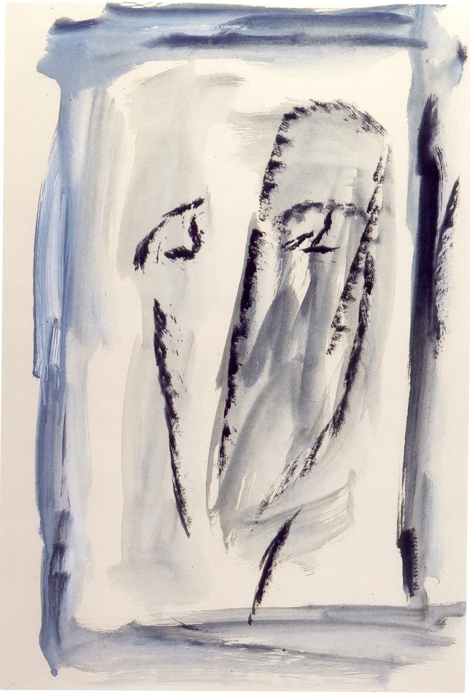 Autoritratto, 1950, tempera su carta, cm 76 x 53  Autoritratto, 1950, tempera on paper, cm 76 x 53