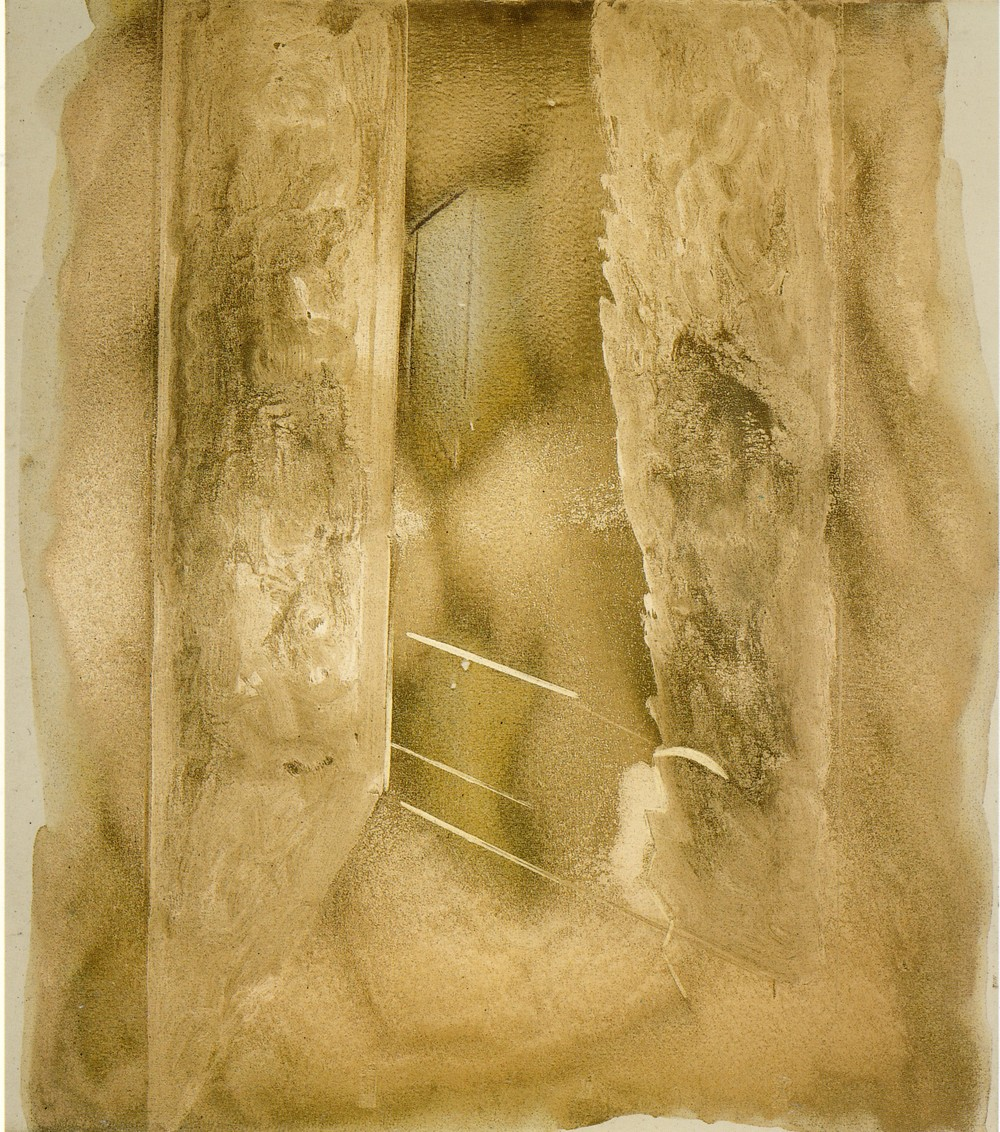 senza titolo, 1976, oro pallido, rame naturale, olio e polveri d'oro su tela, cm 160 x 140   untitled, 1976, pale gold, natural copper, oil and gold dust on canvas, cm 160 x 140