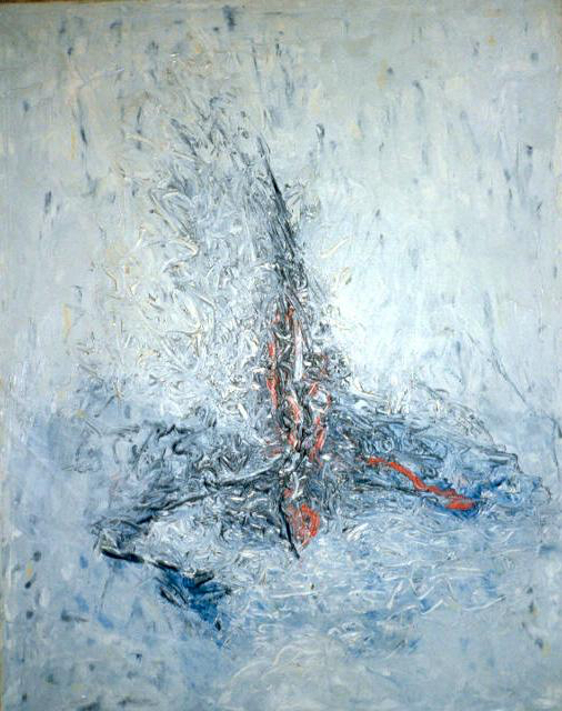 "senza titolo, 1963, dalla serie ""Ipotesi ultime"", olio su tela, cm 91 x 73    untitled, 1963, from the series ""Ipotesi Ultime"", oil on canvas, cm 91 x 73"