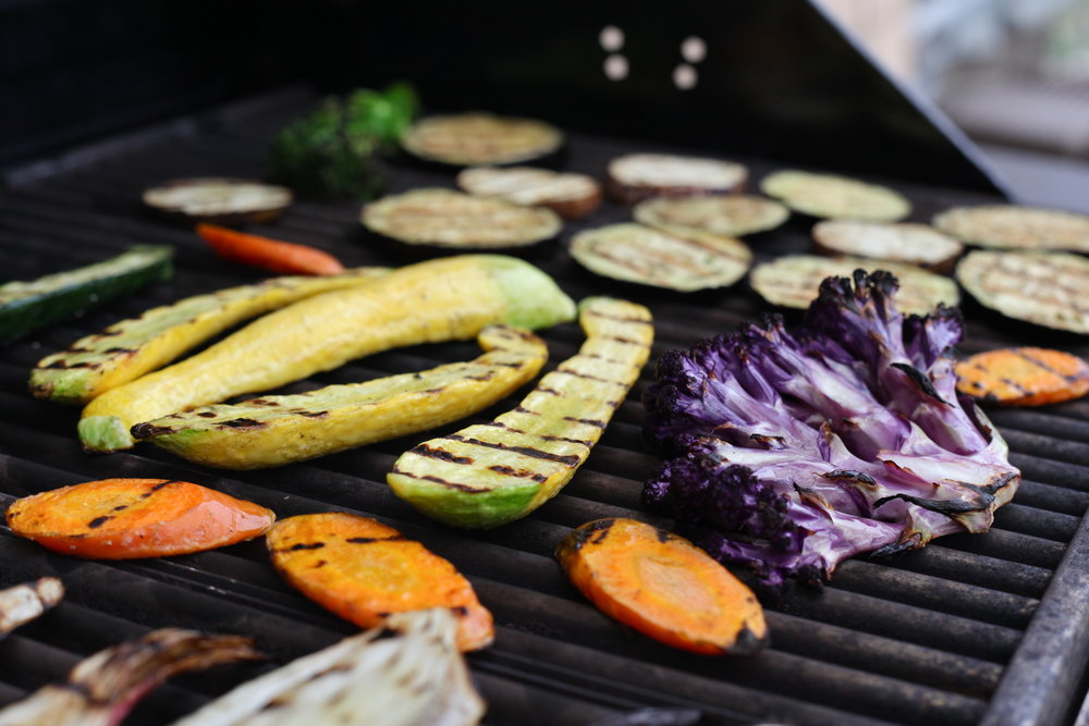 WE STILL LOVE A GRILLED STEAK OR SALMON COOKED THIS TIME OF YEAR, BUT WE'RE HAVING THE MOST FUN WITH VEGETABLES.