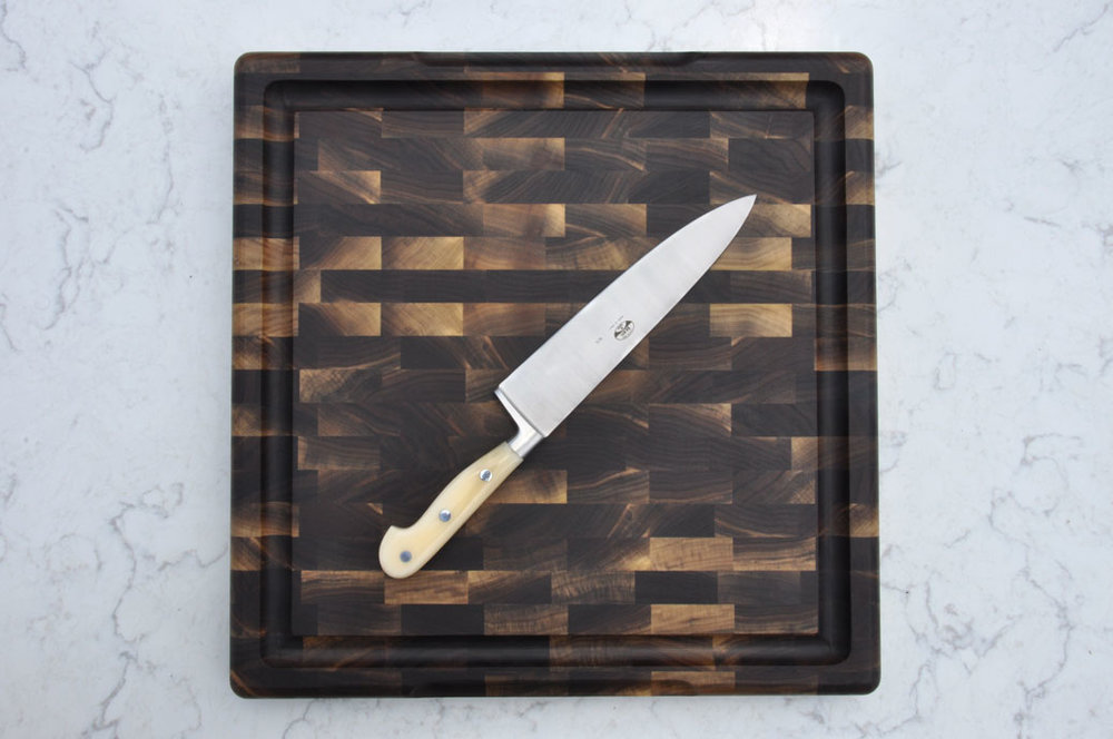 BOARD AND BLADE: BERTI 8 INCH CHEF KNIFE AND SQUARE WALNUT BUTCHER BLOCK
