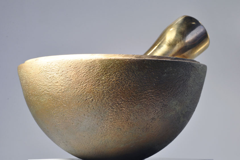Planetary Surface Cast bronze, lost wax method 6 inches diameter by 3 inches tall