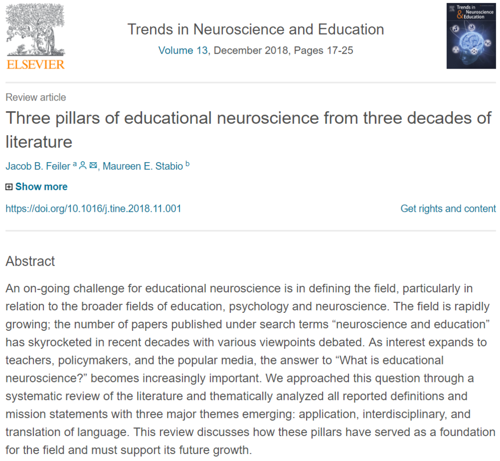 Three pillars of educational neuroscience