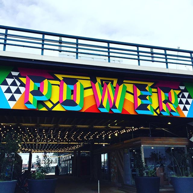 P O W E R ✌🏽🌈 Amazing design by @moragmyerscough . . #design #moragmyerscough #art #streetart #battersea #london #colour #power #feelgood #fun #powerful #colourful #color #colourful #designer #style #inspiration #designspiration #wishididthat #shape #geometric #type #3dtype #typography #graphicdesign