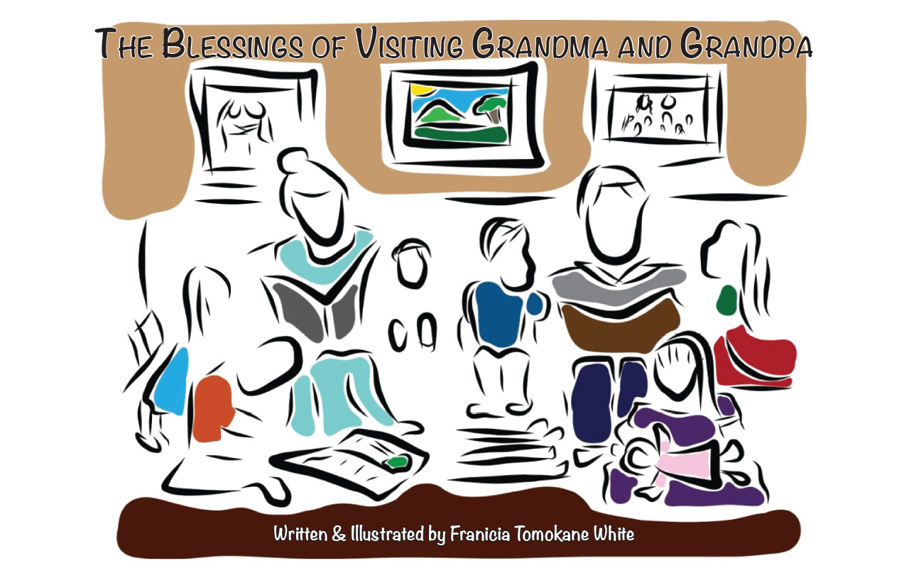 Cover art for The Blessings of Visiting Grandma and Grandpa written and illustrated by Franicia Tomokane White