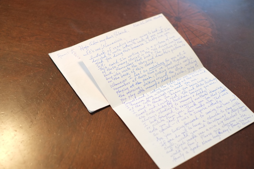 Pelaiah's hand-written letter from Saipan grandmother Anicia