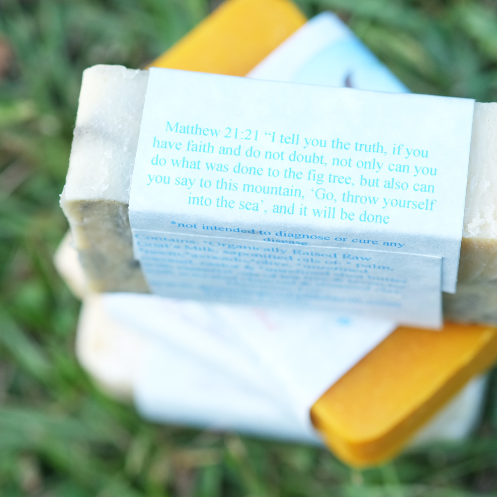 Matthew 21:21 Bible verse on the side of the organic soap label