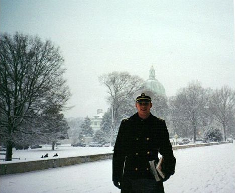 Tim at the Naval Academy in January of 2000 with the chapel dome in the background.