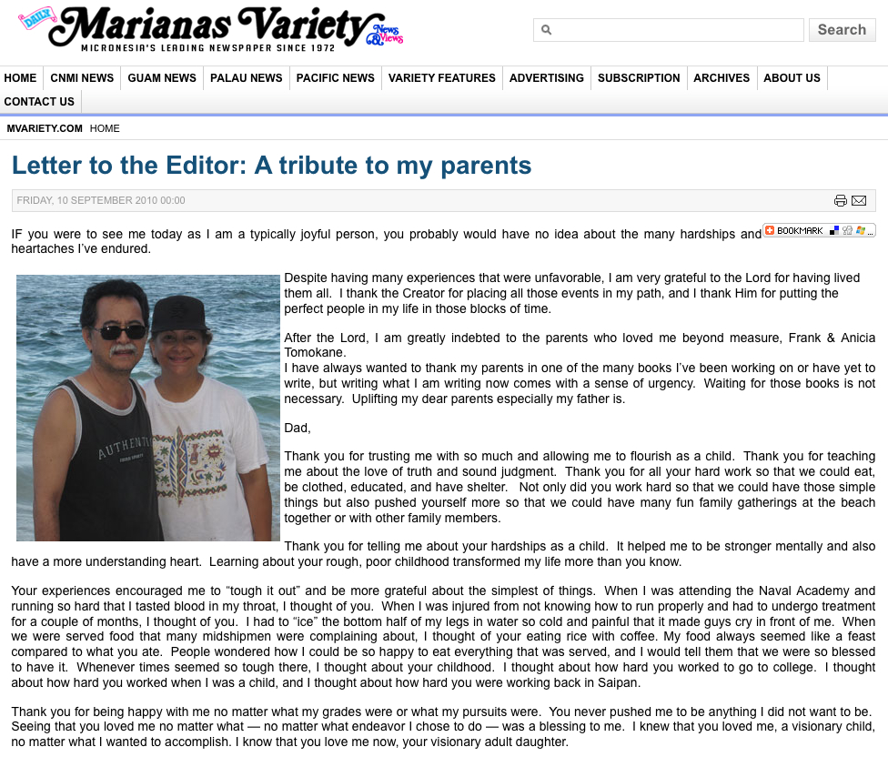 The online version of my tribute to my parents in Saipan.