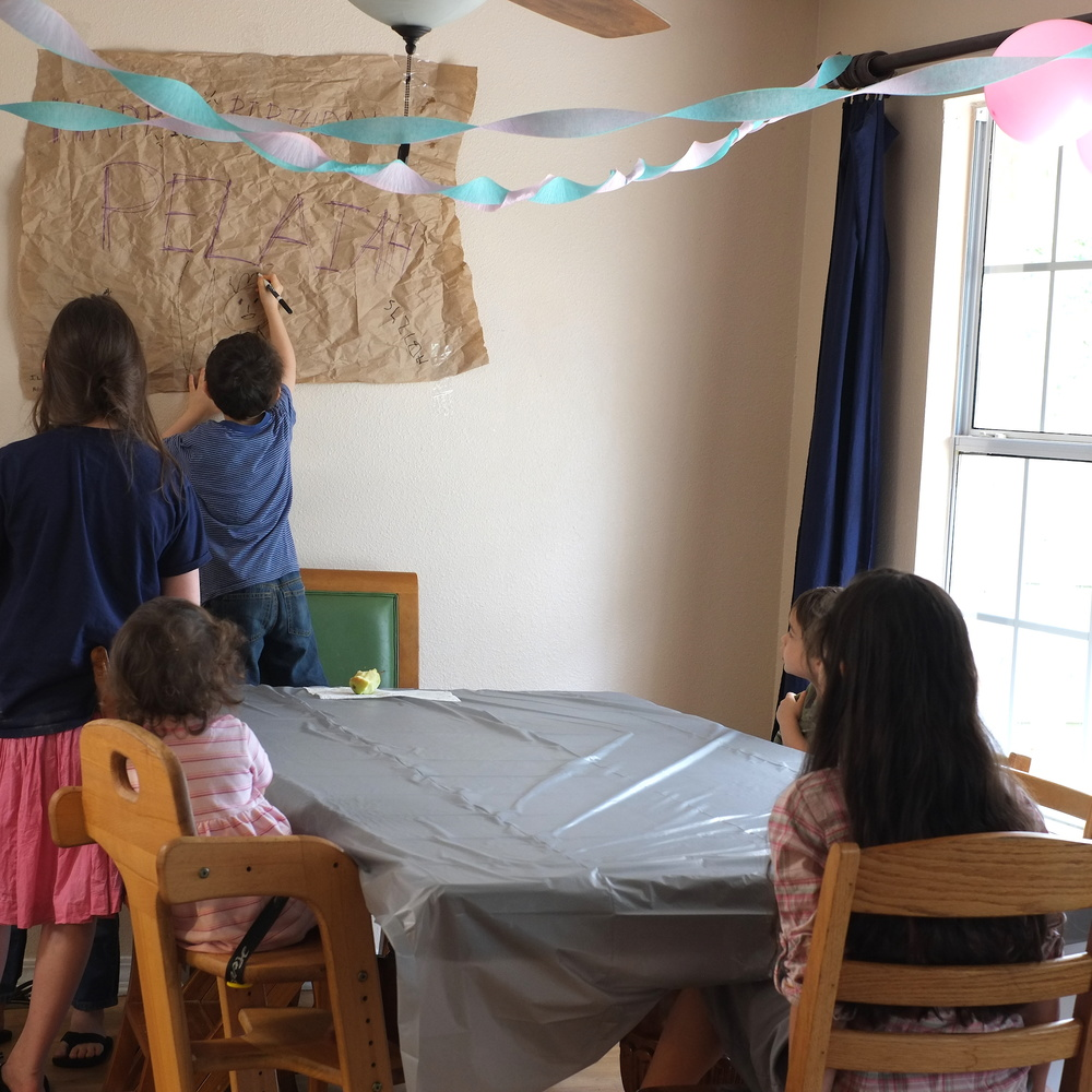The children always beg to wake up early to decorate before the birthday celebrant comes outside for breakfast in order to surprise their sibling