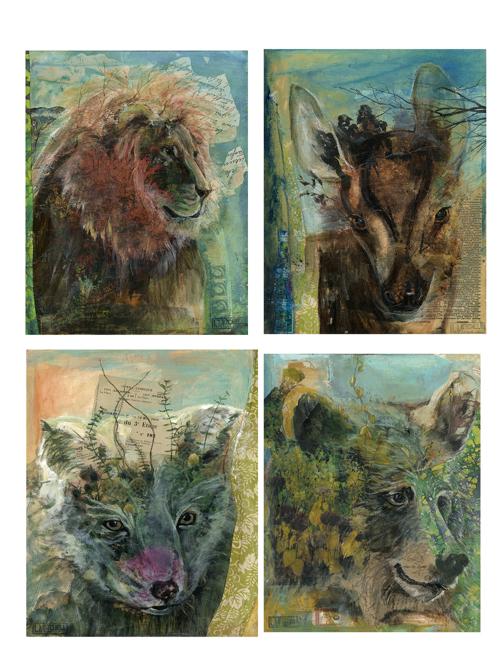 "Flauna Series:   Clockwise from top left: ""Flauna: Trion"", 11x14, ""Flauna Trawn"",  11x14, ""Flauna Bear"", 11x14, ""Flauna Flox"", 11x14"