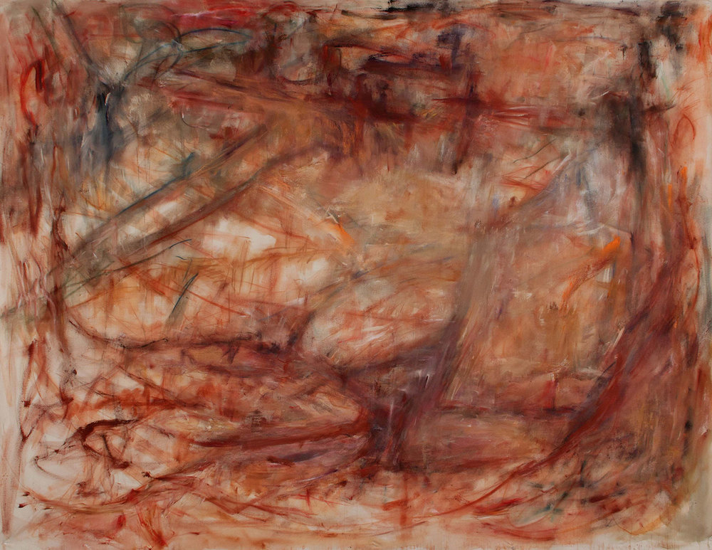 "Heavy Red 2   72"" x 96"" 2015    Prepared Raw Canvas with Chalk, Charcoal, and Acrylic"
