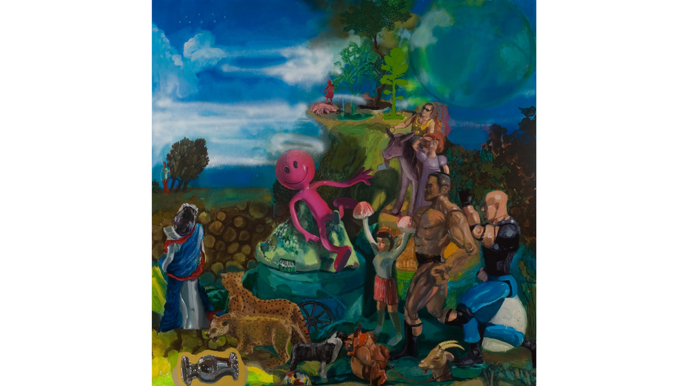 "Titian's Toys    2011 Acrylic, oil and spray paint on canvas 48"" x 48"""