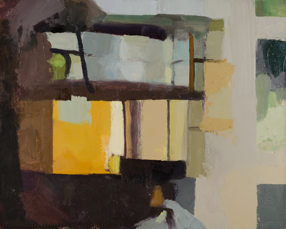 "Kristen Peyton    Piano Room , oil on canvas mounted to board, 13""x17"