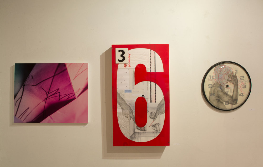 View of works by Kristin Skees and Melissa Schappell in a Celebration of Female Artists