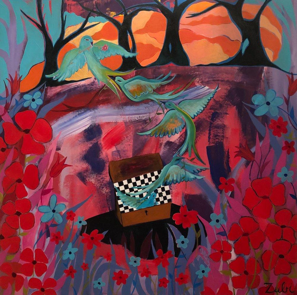 . Sofia Zu'bi   Portal to Another Land  acrylic and oil