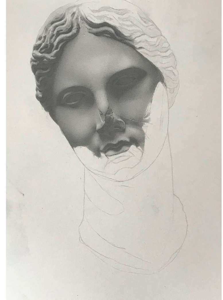 Andrew Shears  Untitled (Head Cast ) graphite on paper (left) and  Braid s  graphite on paper dipped in encaustic wax (right)