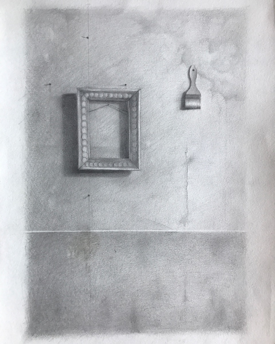Andrew Shears  Wall with Frame and Brush   graphite on paper dipped in encaustic wax