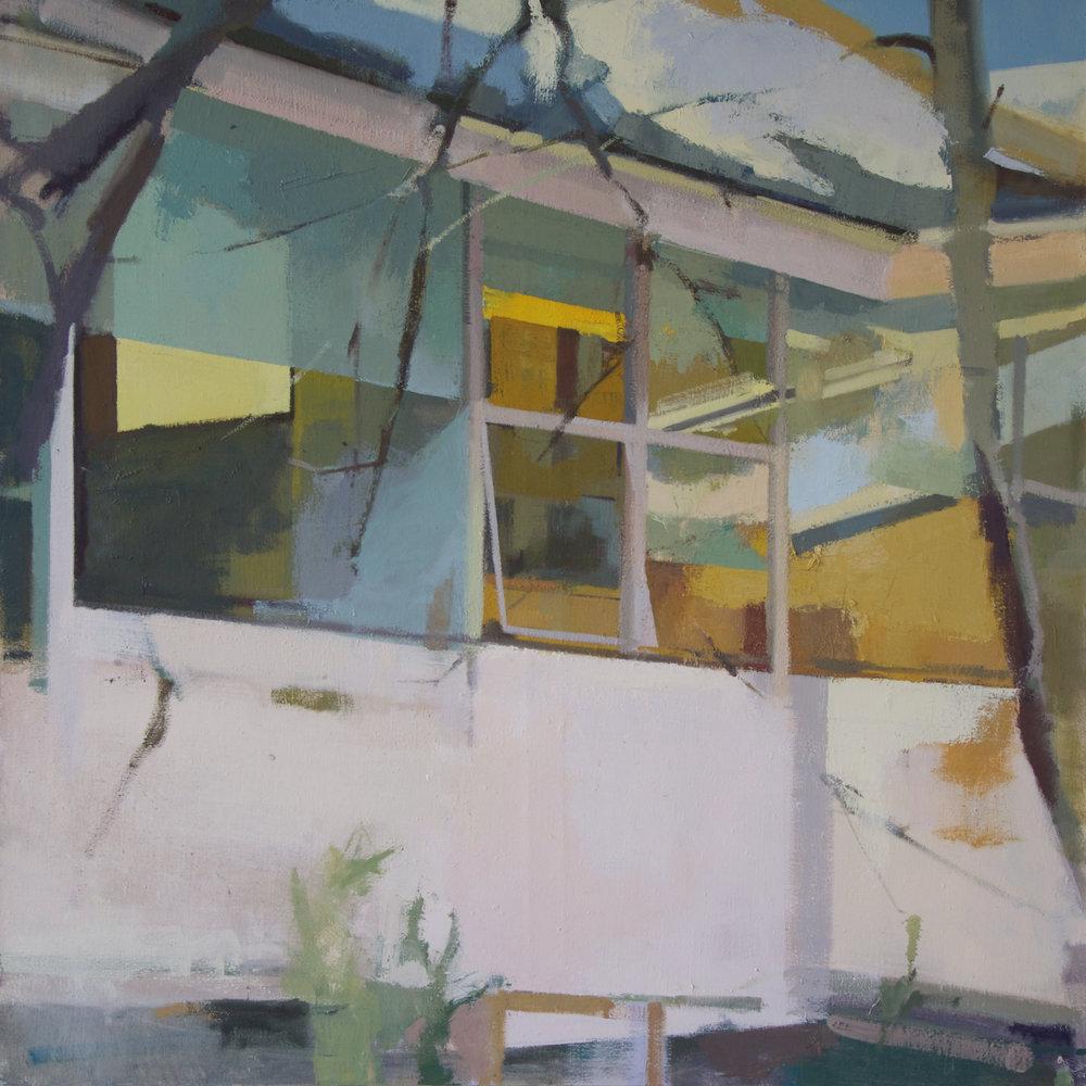 Quadrant Panes , 2017  Oil on Canvas  48 × 48 × 1 in; 121.9 × 121.9 × 2.5 cm
