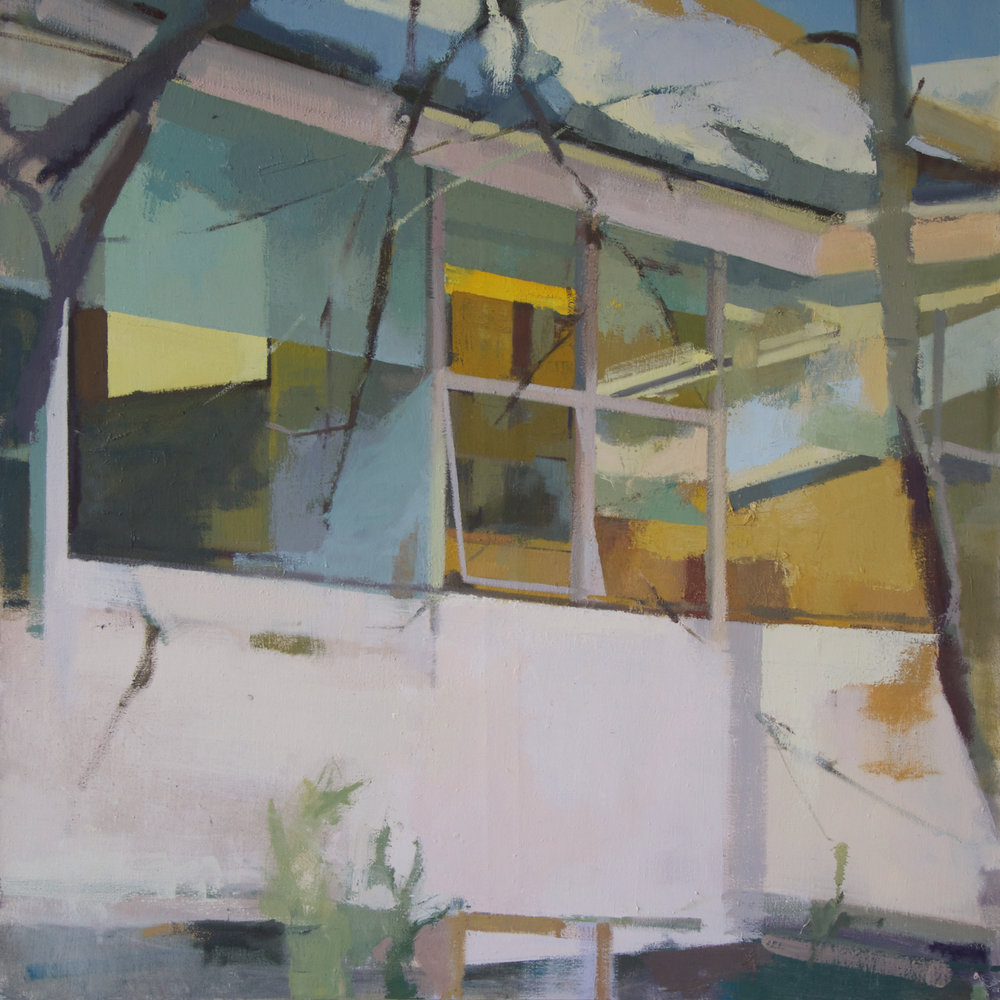 Quadrant Panes , 2017, Oil on Canvas, 48 × 48 × 1 in; 121.9 × 121.9 × 2.5 cm