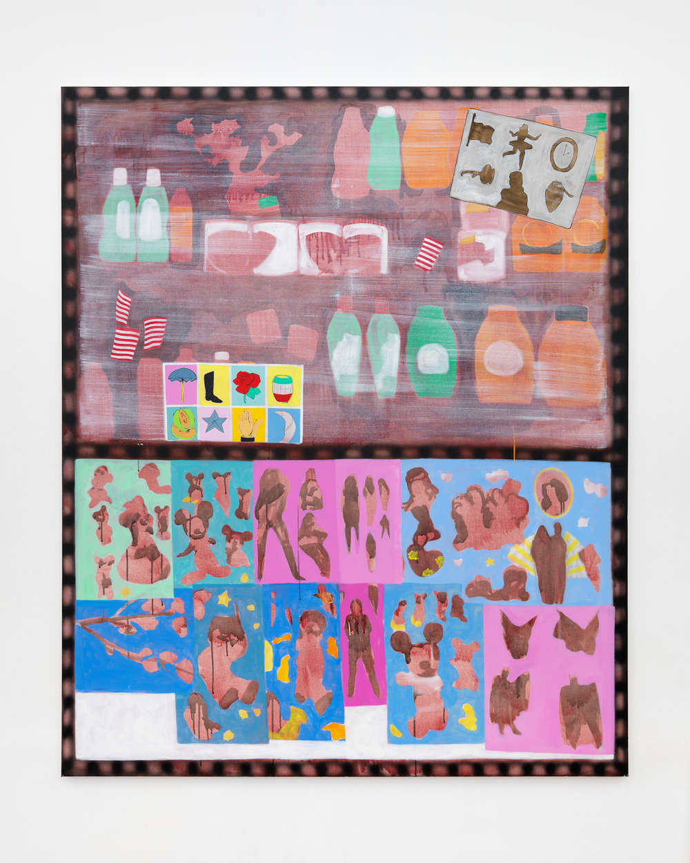 Nicole Mouriño Charada, Loteria and Stickers  ink, acrylic and oil on canvas