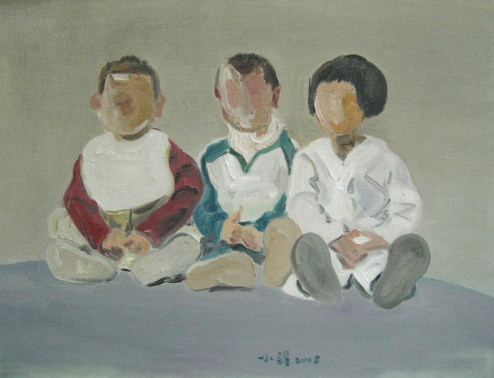 Gao, xiaofeiLove-三个娃娃 61x46 布面油画 2008.JPG $4,000.jpg