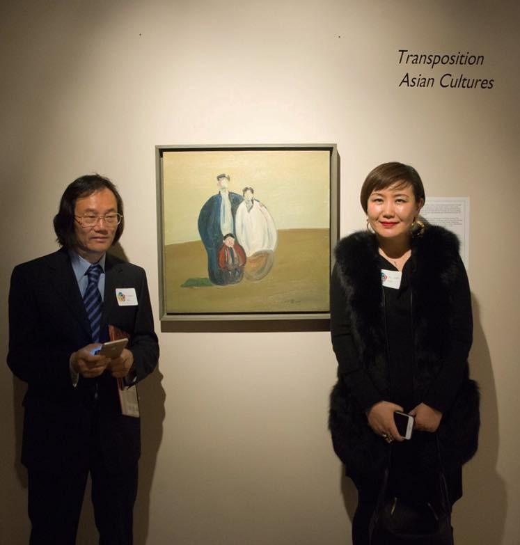 Yu Xue Min (left) and Gao Xiao Fei at the opening reception at the Peninsula Fine Art Center