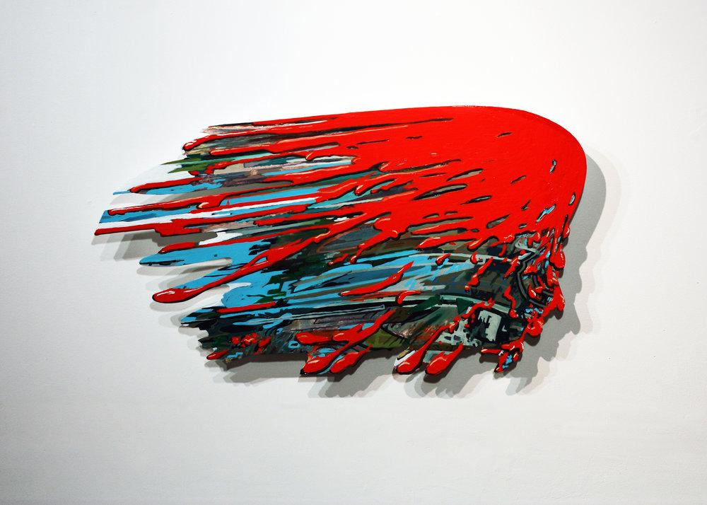 """Lindsay McCulloch,   Splatter  , oil on Dibond, 14"""" x 26"""" x 1"""", 2018"""