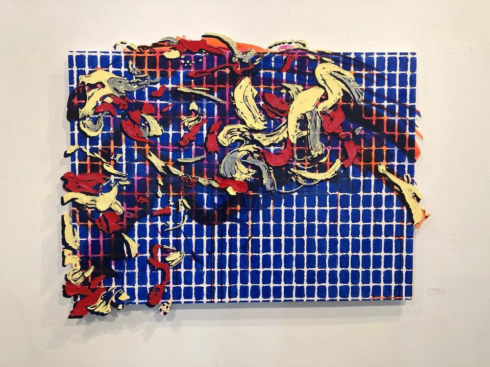 """Lindsay McCulloch,   Constellatio   n , acrylic and oil on Dibond, 39"""" x 51"""" x 1"""", 2018"""