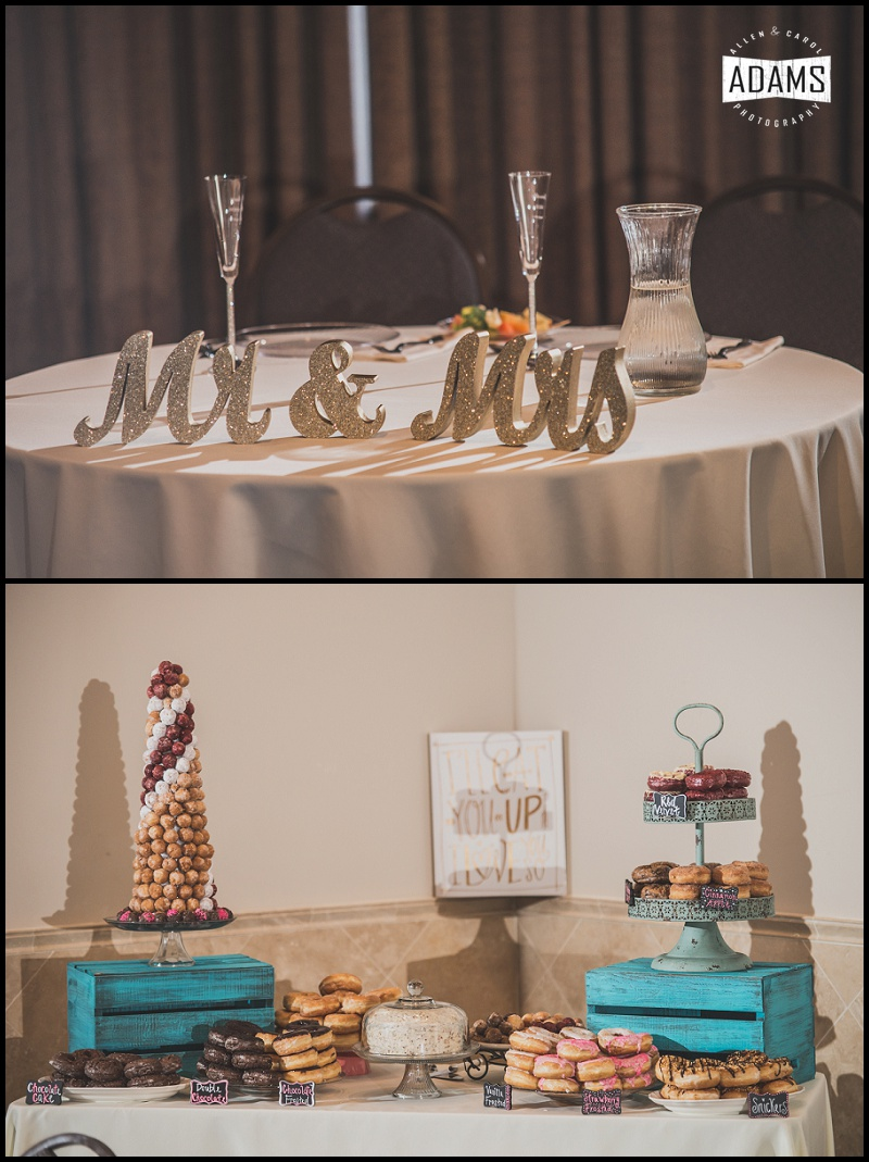 We loved the doughnut bar! What a great idea!! It brought so much color and fun to this reception! Well done,  Sweet Tea Events!