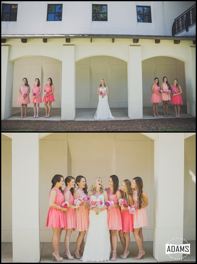 bridesmaids peach dresses