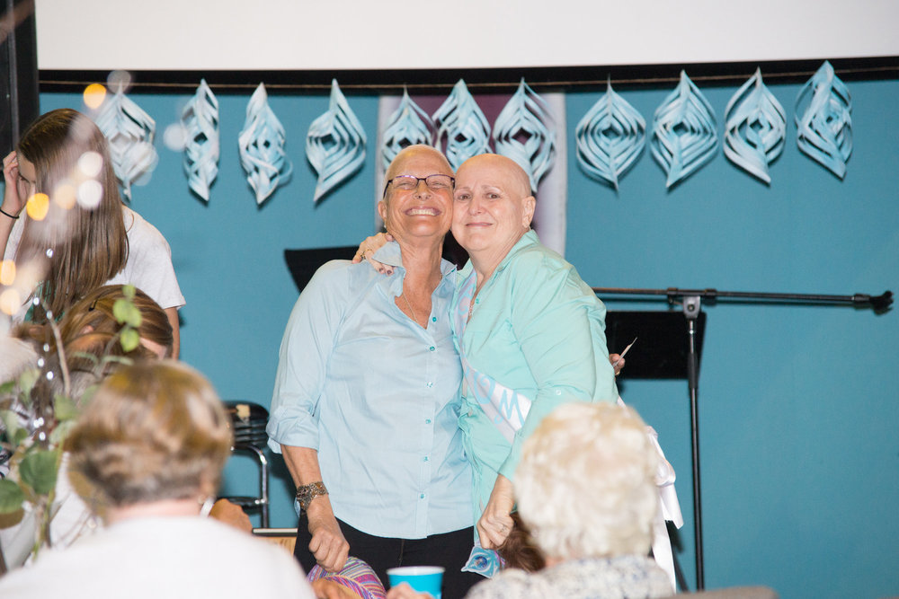"MAMA AND ONE OF HER ""CHEMO-SABIES"".  A PRECIOUS MOMENT IN WHICH THEY CHOSE TO TAKE THE HAT AND WIG OFF FOR A PHOTO AND JUST BE PROUD OF BEING SURVIVORS...WITH OR WITHOUT HAIR.  PERSPECTIVE IS EVERYTHING!"