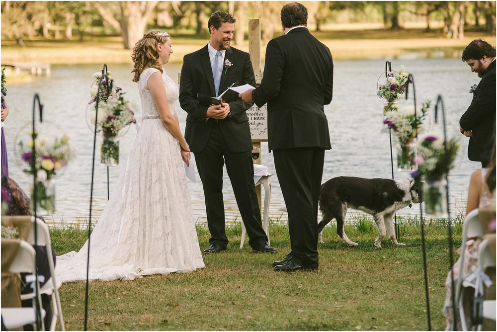 That awkward moment when a dog enters the ceremony to steal the communion bread, and the groom has to shoo him off! Always an adventure!