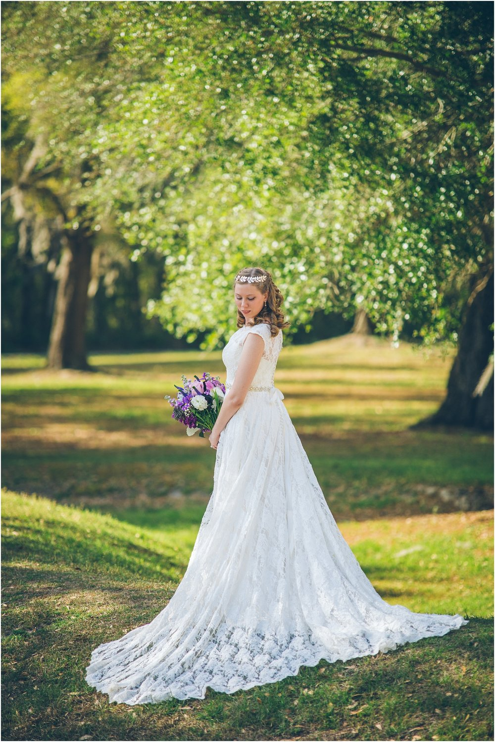 Those purple flowers tho! and that stunning Justin Alexander Dress!