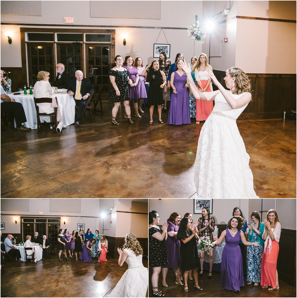 Epic bouquet toss. Love how all the girls clap for the lucky (or strategic ;) one who caught the boquet. What sweet guests.