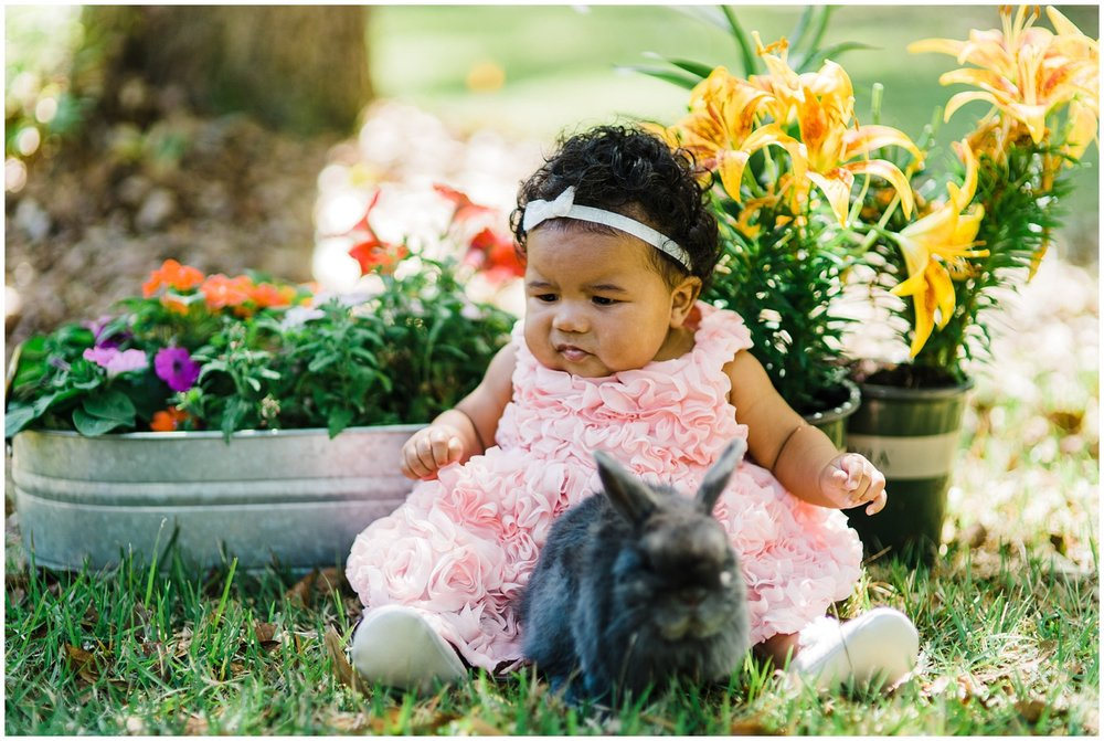 We thought it would be so cute to do Easter photos with our daughter's bunny named Thumper!  But as you can see, Abi wasn't so sure about it. Heehee